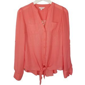 5/$25 Candie's Coral Lace Back Roll Tab Button Up